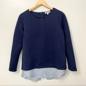 Anthropologie Pleione Navy Quilted Layered Top S